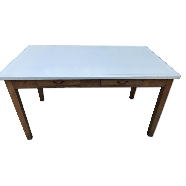 Curtiss Son Vintage Porcelain Enamel Top Dining Table Desk Aptdeco