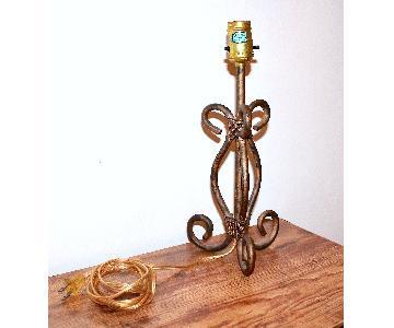 Distressed Metallic Wrought Iron Table Lamp