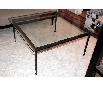 Glass & Wrought Iron Square Coffee Table