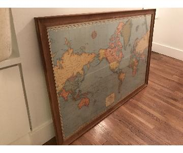 Antique World Map in Wood & Glass Frame
