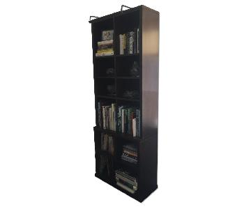 Custom Made Walnut Bookcases In Wenge Stain w/ Library Light