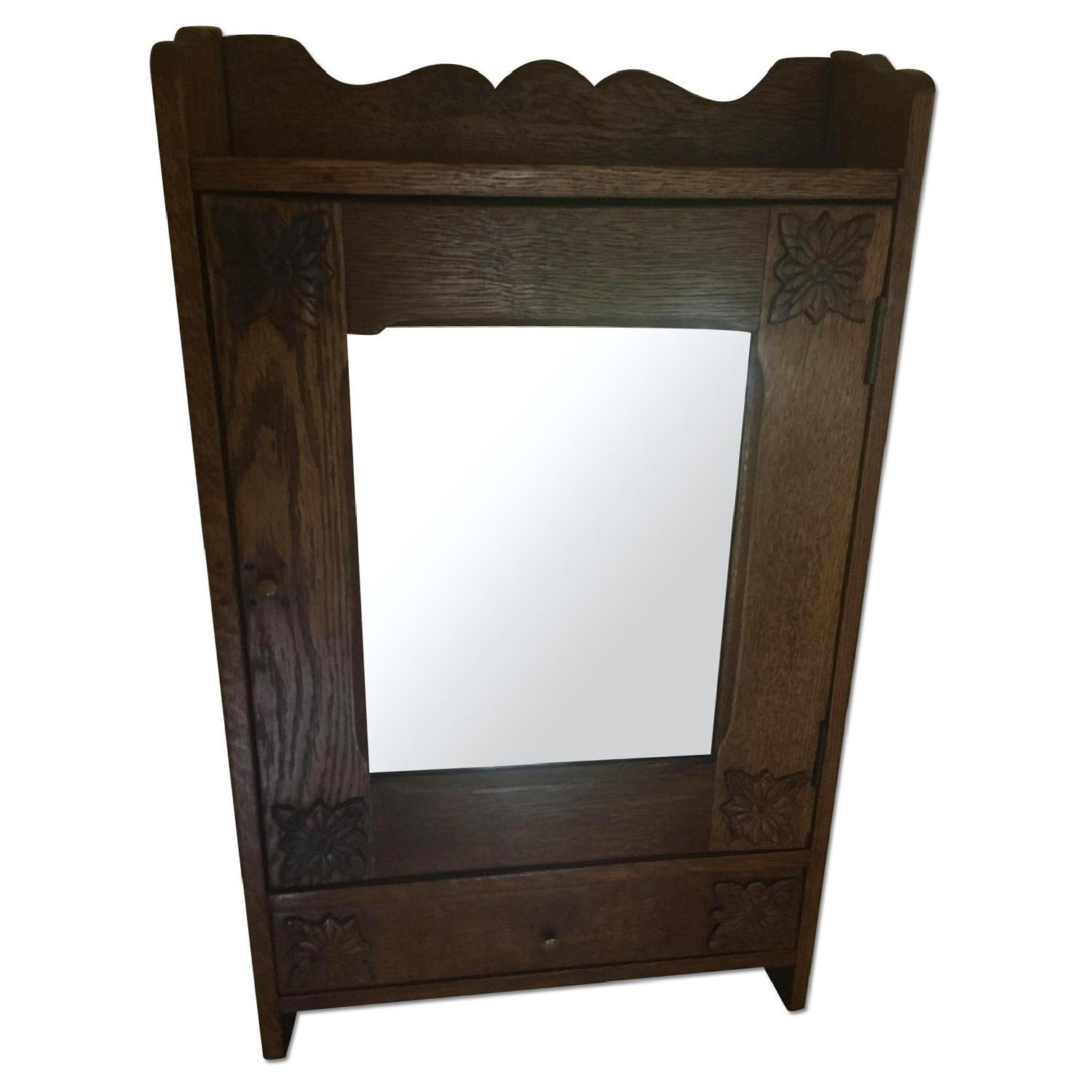 Antique Oak Mirrored Medicine Cabinet