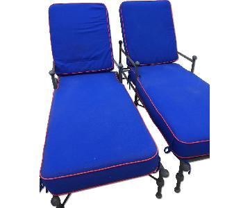 Woodard Furniture Outdoor Cast Aluminum Chaise Lounges w/ Cu