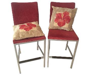 Burgundy Modern Stools w/ Matching Cushions