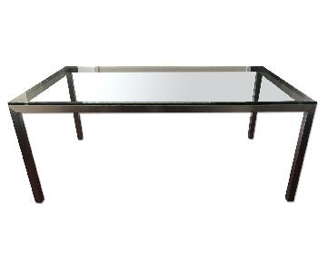 Crate & Barrel Parsons Clear Glass Top & Stainless Steel Bas
