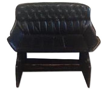 Black Leather Nail Head Buggy Seat Bench