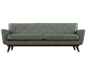 TOV Furniture Lyon Smoke Gray Leather Loveseat
