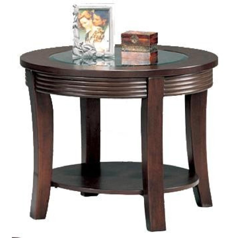 Coaster Fine Furniture Glass Top Round Side Table w/ Storage Shelf