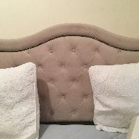 Luxurious Upholstered Fabric Queen Bed w/ Head and Footboard