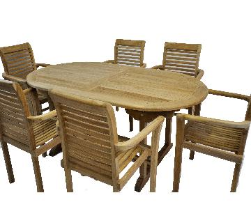 Oval Outdoor Teak Dining Table w/ 6 Chairs