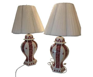 Vintage Ukrainian Folk Art Large Table Lamps