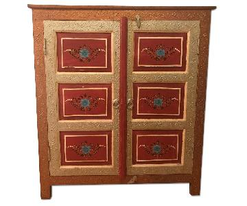 Hand Painted Floral Carved Wood Indian Cabinet