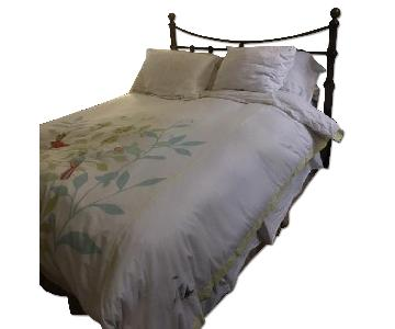 Metal Full Size Bed Frame w/ Brass Headboard