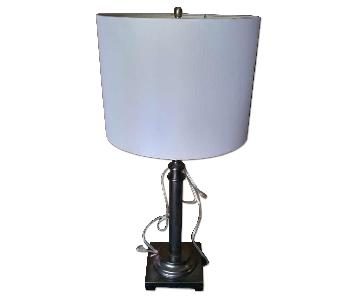 Modern Round Table Lamp w/ with Dark Bronze Color Base