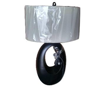 Modern Table Lamp w/ Black Sculptural Base