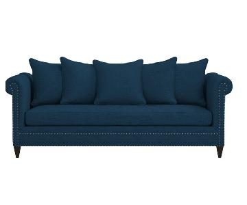 Crate & Barrel Durham Navy Blue Couch w/ Nailheads