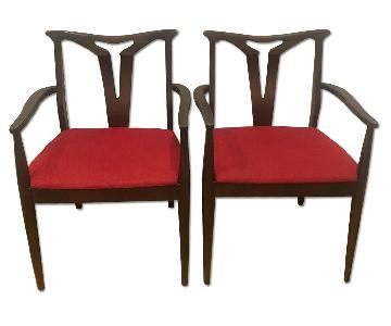 Vintage Red Wooden Chairs