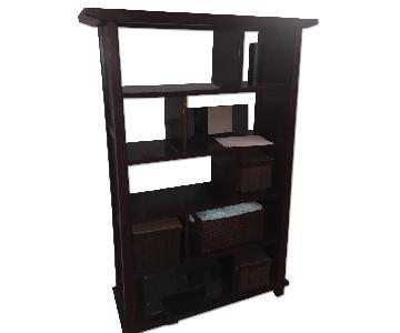 Crate & Barrel Mahogany Bookshelf w/ Built in Dividers