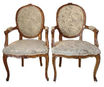 Vintage Solid Wood Carved French Style Chairs