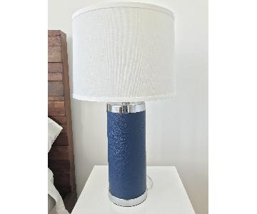 Safavieh Navy Leather Column Table Lamps
