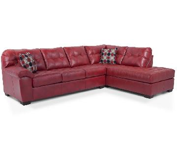 Bob's Red Bonded Leather Sectional Sofa