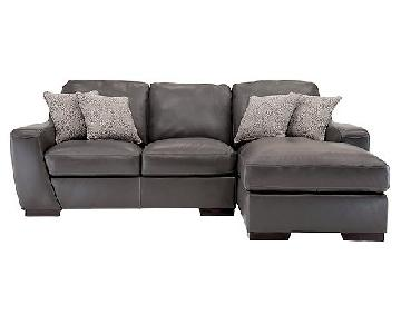 Raymour & Flanigan Bellanest Gray 2-Piece Leather Sectional