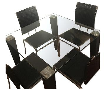 Modani Glass Dining Table w/ 4 Leather Dining Chairs