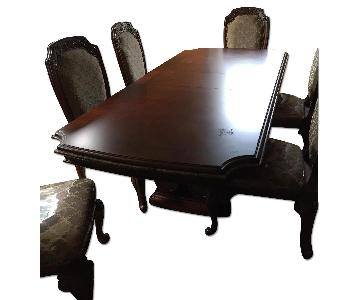 Wood Dining Table w/ 8 Chairs + Hutch