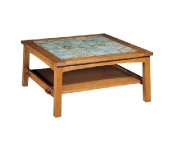 Stickley Cherry & Tile Coffee Table