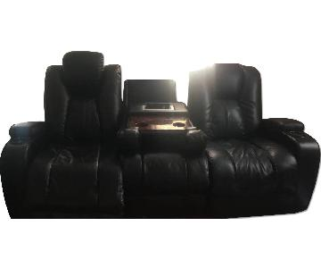 Black Leather 2-Seat Home Theater Sofa