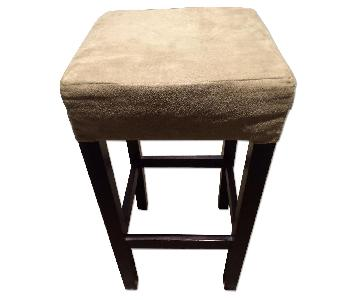 Bar Stools w/ Beige Upholstered Seats