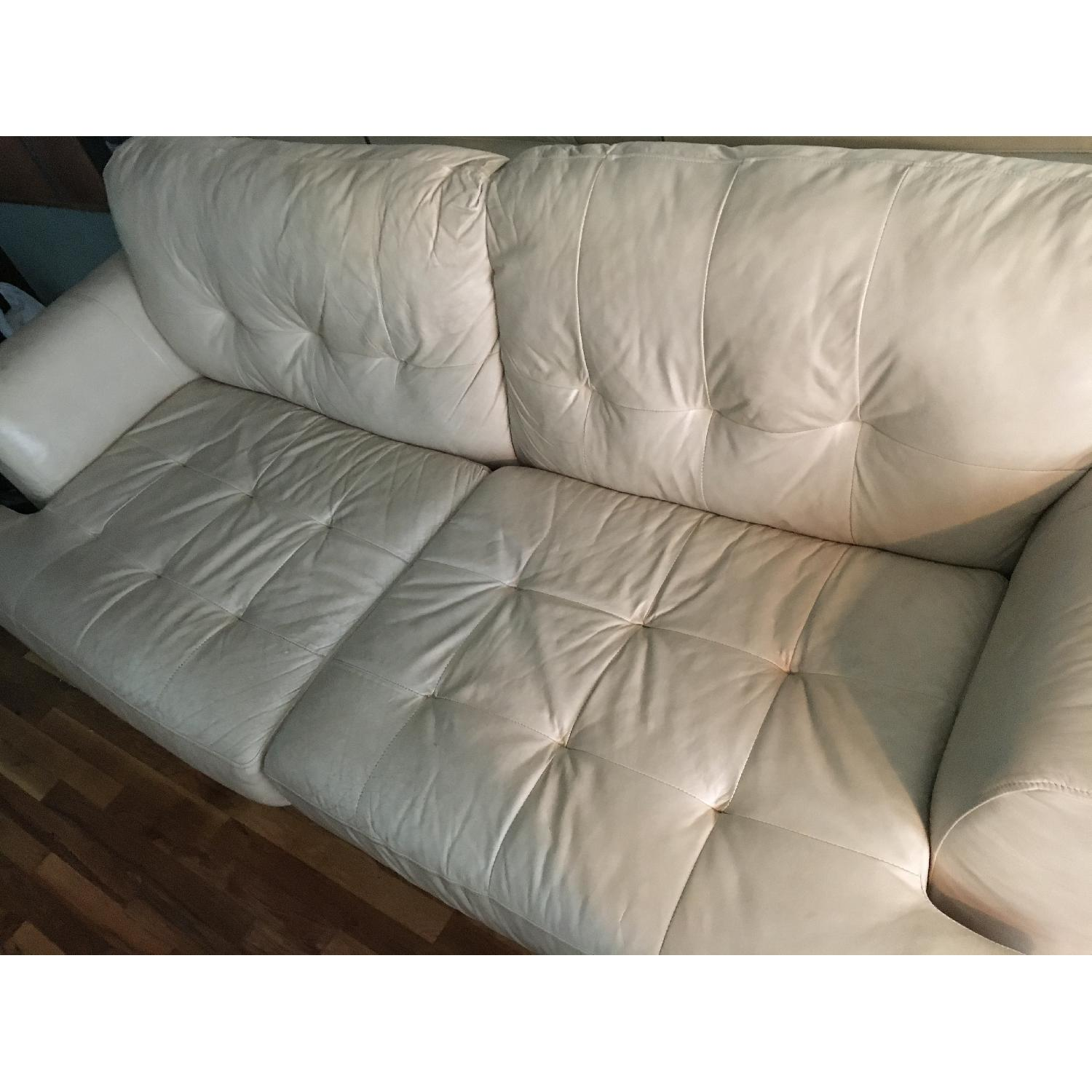 Leather Tufted Sofa + 2 Side Chairs-1