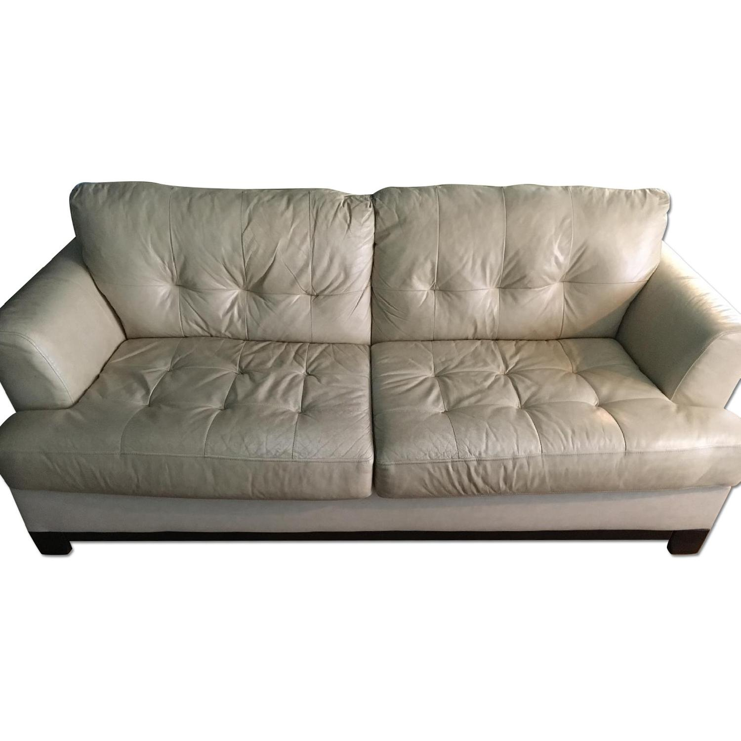 Leather Tufted Sofa + 2 Side Chairs
