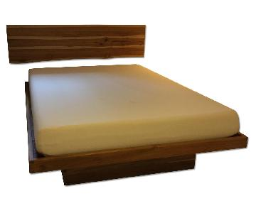 From The Source Wood Floating Bed w/ Headboard