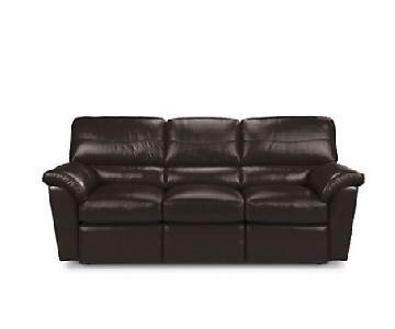 La-Z-Boy Black Leather Reclining Sofa