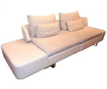 Natuzzi Opus White Leather Sectional Sofa