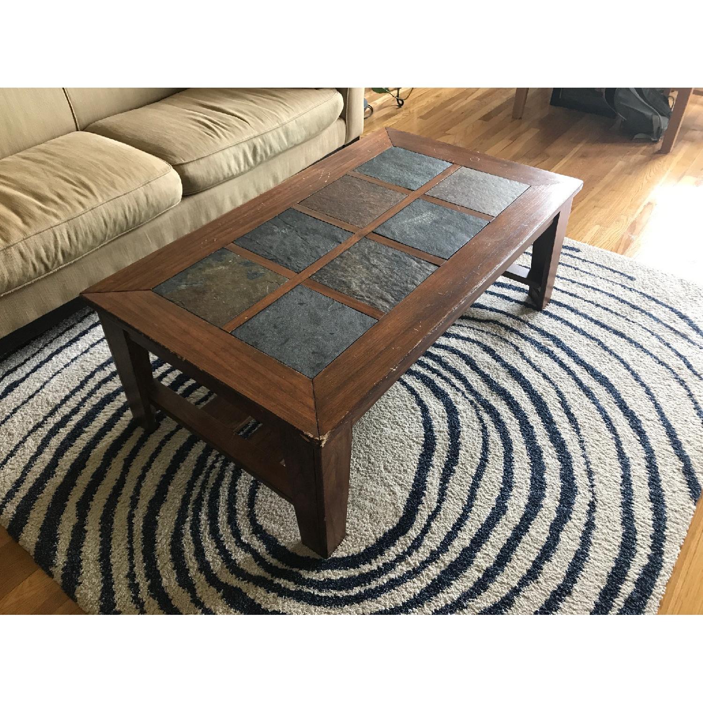 Ashley S Toscana Rustic Coffee Table W Slate Tiles Aptdeco