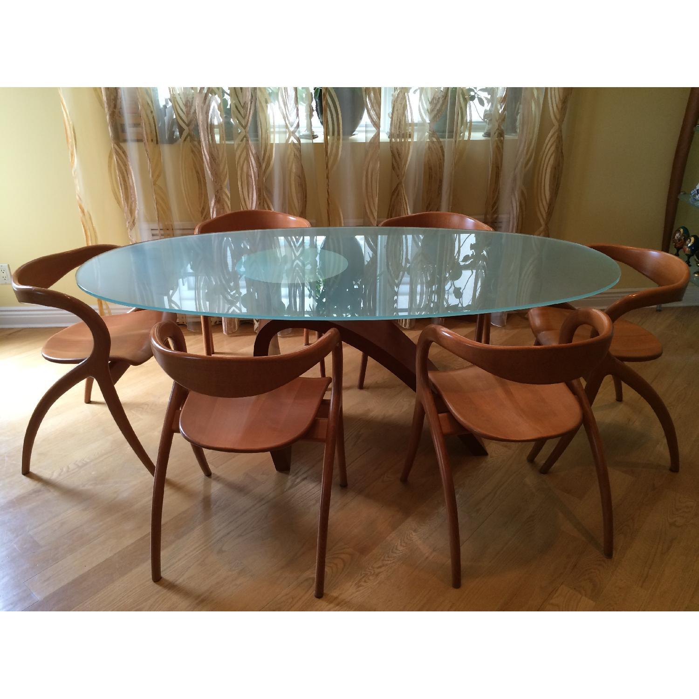 Vintage Circa 1990 Oval Glass Dining Table AptDeco : 1500 1500 frame 0 from aptdeco.com size 1500 x 1500 jpeg 180kB