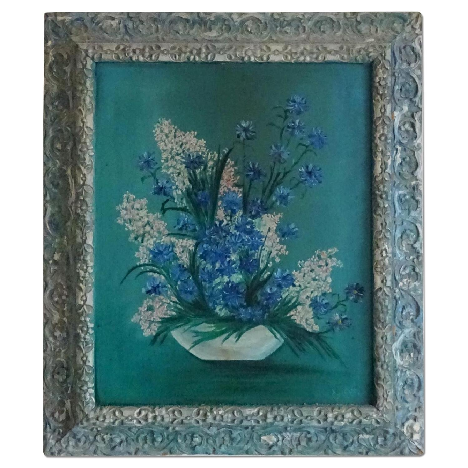 Oil Painting Lilacs in Bowl
