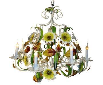 Large Vintage Shabby Grand Tole Floral Chandelier