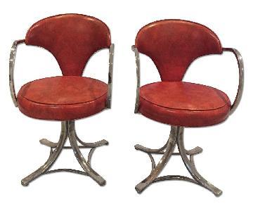 1950s Vintage Orange/Stainless Swivel Salon Chairs