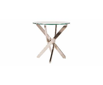 Raymour & Flanigan Glass Top Side Tables