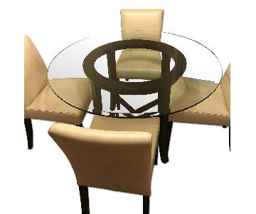 Crate & Barrel Round Glass Dining Table w/ 4 White Chairs