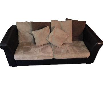 Jennifer Convertible Brown/Tan Sleeper Sofa + Recliner