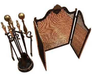 Firepatio Solid Brass Fireplace Set