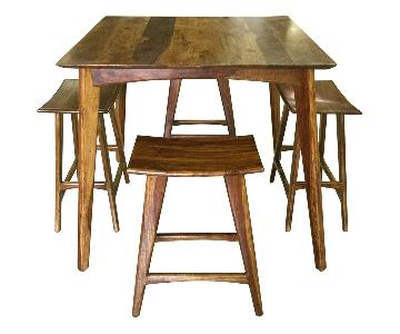 Designe Gallerie Wooden Bar Table w/ 4 Stools - Set of 5
