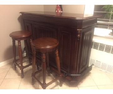 Classic Large Cherry Bar w/ 2 Bar Stools