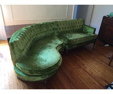 ArtDeco Green Velvet Sectional Sofa