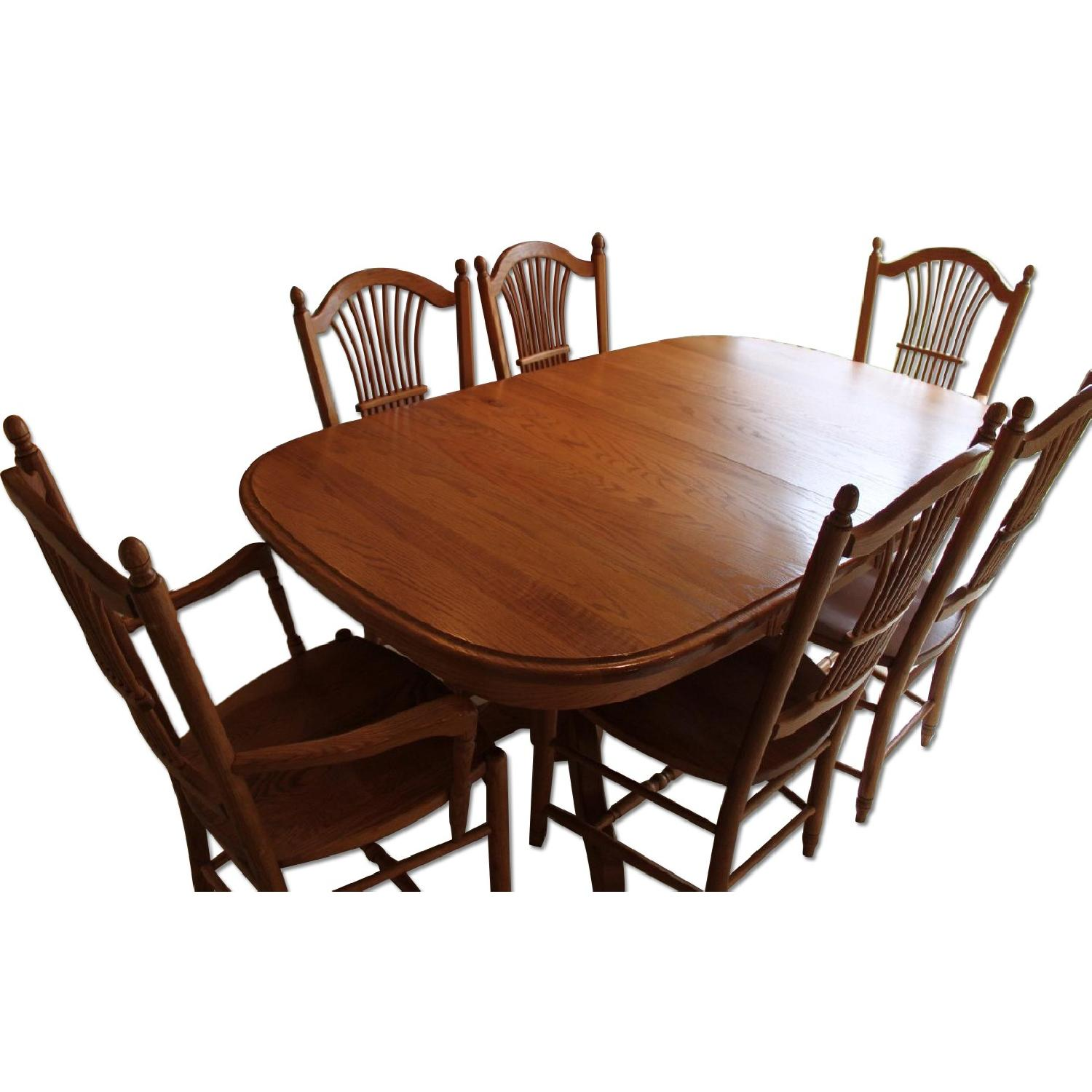 Edrich Mills Wood Shop Dining Table W/ 6 Chairs ...