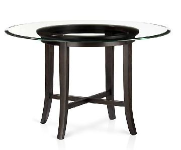 Crate & Barrel Halo Round Dining Table w/ Glass Top
